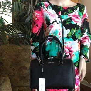 NWT Calvin Klein Black Saffiano Satchel-2 Way Wear